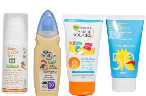 Disse fire solkremene til barn får dårligste karakter i Forbrukerrådets test.