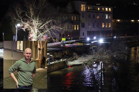 Store deler av bryggepromenaden har rast ut i elva. Ulf Ellingsen, direktør for teknisk i kommunen innfelt.