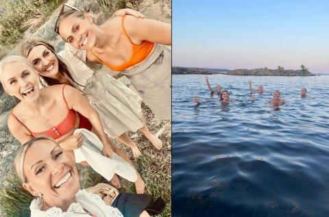 INVITERTE TIL BADING: Eva Weel Skram inviterte til bading etter konserten i Kristiansand. (f.v.) Cecilie Steensæth Tørum, Eva Weel Skram, Camilla Algrøy Hansen og Amalie W Jørpeland.