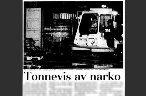 [b]DEN GANG DA:[/b] Slik så forsiden til Stavanger Aftenblad ut 14. juli 1995, dagen etter rekordbeslaget. Artikkelen finnes i Aftenbladets digitale arkiv.