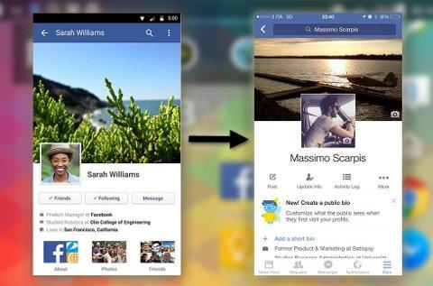Gammel vs ny app. Hva tenker du? Er det penere? (Foto: Skjermdump)