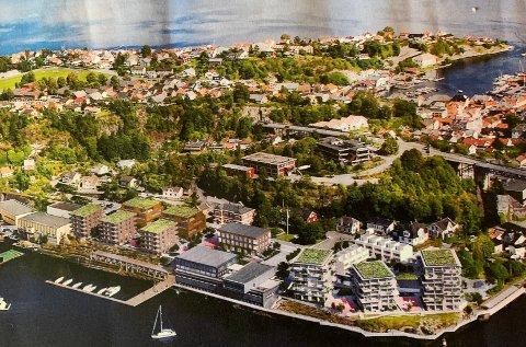 NYE STRØMTANGEN: Slik forslagsstiller ser det for seg. 100-120 leiligheter er tegnet inn på området.