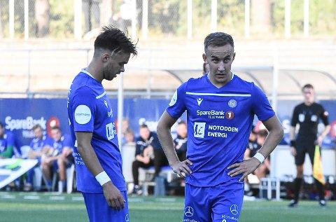 MÅL: Martin Brekke (t.h) scoret mål, mens Kjetil Tøsse mener han skulle hatt straffespark mot Bryne