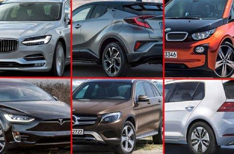 Her er noen av bilene vi nordmenn velger når vi skal ha helt ny bil. Øverst fra venstre: Volvo V90, Toyota C-HR, BMW i3, Tesla Model X, mercedes GLC og VW e-Golf.
