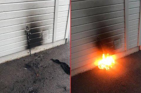 BRANN: Bortsett fra svimerker på veggen ble det ingen alvorlige skader da noen hadde satt fyr på noe klær festet til en kjetting ved et garasjeanlegg på Barkåker søndag ettermiddag.