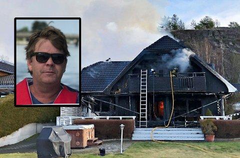 KRØP INN OG REDDET KJÆLEDYRENE: Det var her, fra verandaen, at Paal Stenberg tok seg inn i boligen for å redde familiens to hunder. Kort tid etter at de kom seg ut sto hele stuen i full fyr.