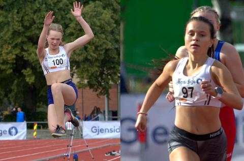 IVRIGE: Sunniva B. Myhre (16) ble nummer tre, fire og fem på hoppøvelsene under UM i friidrett i Trondheim i helga. Ingrid Solheim (16) ble nummer fire på 800 m.