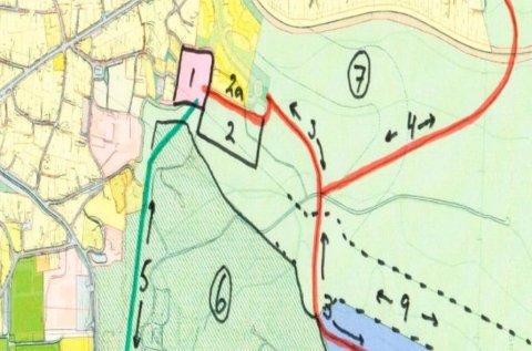 PLANEN:Skisse av framtidig veisystem og boligutbygging nordover fra Stasjonsveien på grunnen til Rotnes bruk, hentet fra arealinnspill til kommuneplanen.