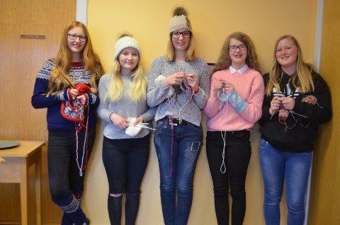 Deltakerne med sine strikkeprosjekter. Fra venstre: Oda Westum, Mali Moseng, Miriam Heidtmann, Benedicte Mikkelsen og Guro Hummelvoll. Siste deltaker, Emma Presthagen, var ikke til stede da bildet ble tatt.
