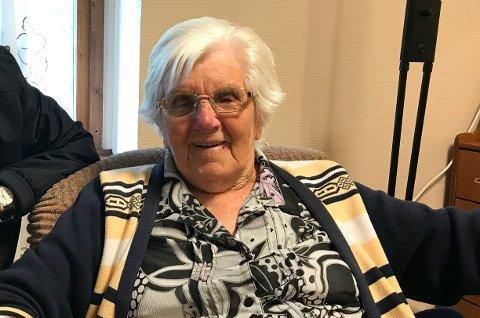 Et privat bilde av Helga Aspås  som nå har fylt 105 år.