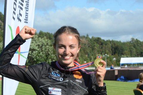 TO GULL: Ingeborg Østgård tok to gull under junior NM i friidrett i helga.