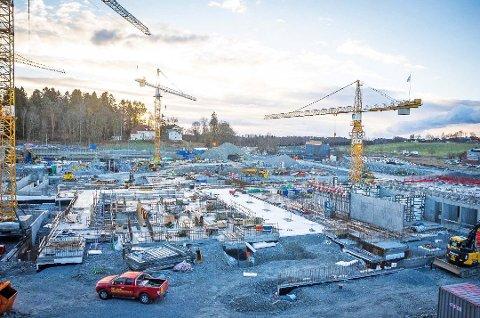 Ås kommune har tredje størst vekst i antall arbeidsplasser i Akershus de siste tolv månedene. Her fra bygging på NMBU.