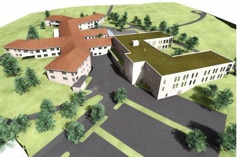 BYGGER UT: Moer sykehjem blir større. Slik skal sykehjemmet se ut etter at det nye tilbygget er ferdig om ny hovedinngang er på plass.