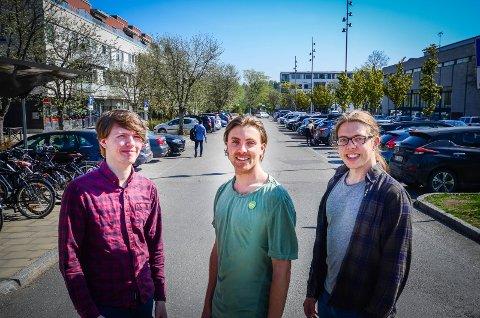 FRA P-PLASS TIL TORG: Studentene (f.v) Marius Ellefsen, Martin Løken og Anders Ildstad mener Rådhusplassen bør omreguleres i sentrumsplanen. Parkeringsplassene bør fjernes til fordel for myke trafikanter, torg og mer plass til uteservering, mener de.