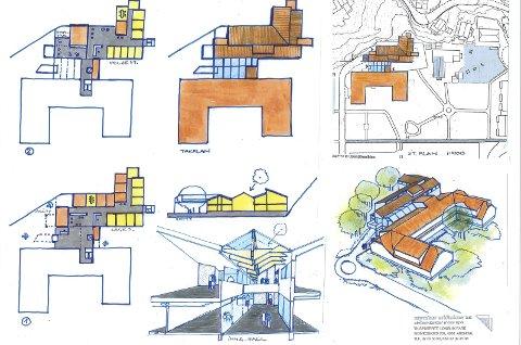 Alternative skisser: – Nytt bygg realiseres i to etasjer som et frittliggende bygg med legesenter/ akuttmottak i første etasje og helsestasjon, kantine og møte- og konferanserom i andre etasje, forteller sivilarkitekt Einar Myraker.Tegninger: Einar Myraker