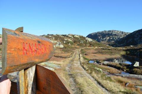 KNABEN 1: Fjellområdet inn til Knaben 1 der det fortsatt er vei fra tidliigere tiders gruvedrift.