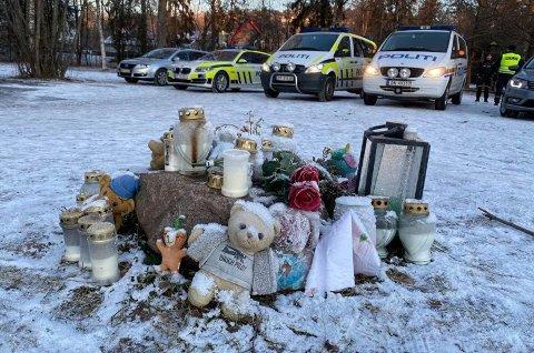 ÅSTEDET: Fredag var det lagt ned blomster og tent lys på stedet der den to år gamle gutten døde. Politiet var også på stedet i forbindelse med en befaring i anledning rettssaken mot sjåføren (63) som kjørte på gutten.