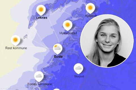 Lillian Berghiem er vakthavende meteorolog i Storm Geo. Hun melder om kalde temperaturer i Salten, men lover også mildere vær denne uka. Foto: Yr.no/skjermdump og privat.