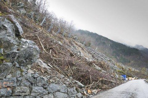 Riksvei 13 her ved Deildo mellom Hovland og Lofthus var onsdag formiddag stengt på grunn av rasfare. (Arkivfoto: Eli Lund/Hardanger Folkeblad)