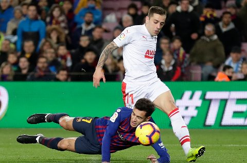 Eibar og Ruben Pena spilte en bra kamp mot Barcelona for en drøy uke siden, men de tapte likevel 0-3. (AP Photo/Manu Fernandez)