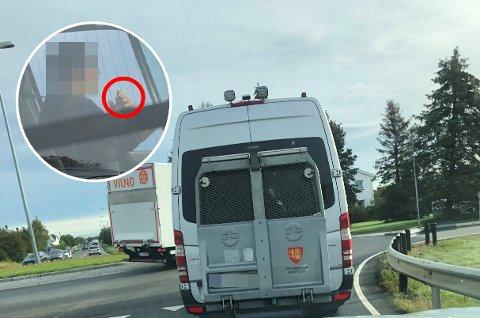 En bilist som selv jobber med kjøring i helsesektoren reagerte kraftig da han så en sjåfør som røykte bak rattet i en kommunal bil for pasienttransport.
