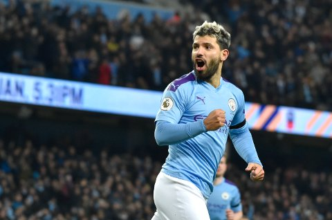 Manchester City's Sergio Aguero celebrates after scoring his side's opening goal during the English Premier League soccer match between Manchester City and Sheffield United at Etihad stadium in Manchester, England, Sunday, Dec. 29, 2019. (AP Photo/Rui Vieira)