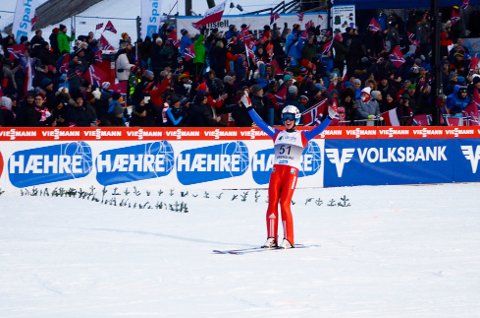 Anders Fannemel jubler for ny verdensrekord på 251, 5 meter i Vikersund.