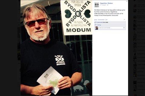KLAR TIL Å TA OVER: 31. august la Bygdelista i Modum ut denne meldingen på Facebook.