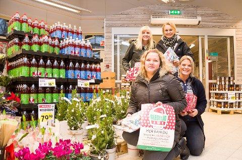 GLEDELIG JUL: Line Fjellstad (foran), Cecilie M. Hovde Berglund, Camilla Fjellvik (bak t.v.) og Jannicke Bunæs vil bidra til at flest mulig moinger for en gledelig jul, og oppfordrer alle til å bidra med gaver.