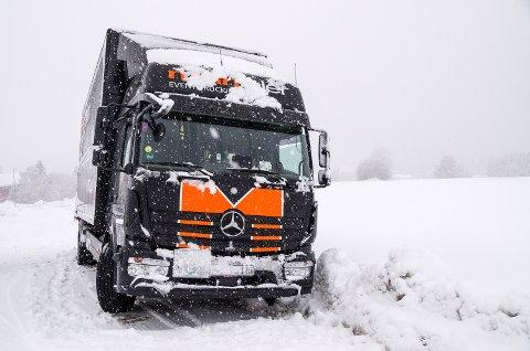 I GRØFTA: Denne tyskregistrerte lastebilen må trolig ha hjelp av tungberger for å komme seg opp av grøfta.