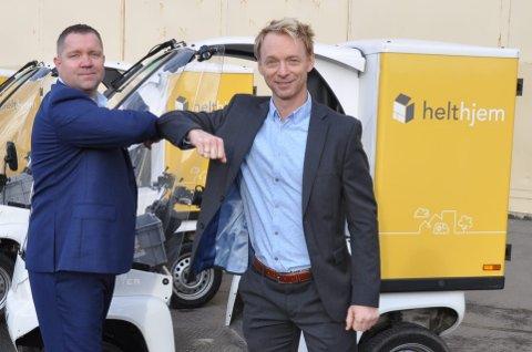 AVTALE: Administrerende direktør Ingar Merli i Amedia Distribusjon og konsernsjef Kristian Torgersen i Paxsters eierselskap HTS har inngått avtale om .