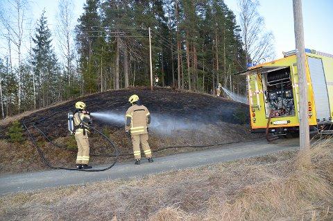 BRANN: Rask respons fra to naboer gjorde at brannvesenet fikk kontroll på gressbrannen på Sysle mandag kveld, før ilden spredde seg til skogen i området.