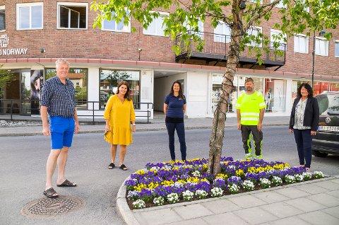 FOLKENE BAK: Jon Hovland (Åmotsenteret), Nina Sandsbråten (Bygdeposten), Liv Sina Wærsted (Skue Sparebank), Ken Bye (Bete Asfalt) og Gro Spone (Sparebank 1 Modum) har alle bidratt til sentrumsannonseringen den siste tiden.