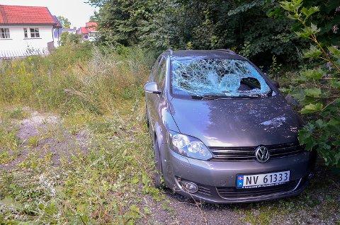 HÆRVERK: Slik så bilen til Camilla Fjeldheim ut, da hun kom fra jobb torsdag.