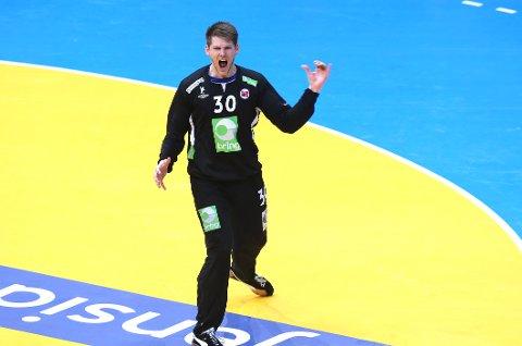 Torbjørn Bergerud jubler etter redning  mot Kroatia.
