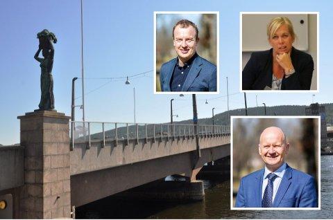 En rekke ordførere i Vestfold og Telemark har bedt Drammen bystyre om å bestemme seg om bybrua. Blant de urolige er Telemarks fylkesordfører Sven Tore Løkslid (øverst), kollegaen Rune Hogsnes i Vestfold og ordfører i Sande, Elin Weggesrud.