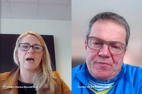 MØTE PÅ NETT: Grunnet korona-situasjonen møtes ikke politikerne fysisk, men på nett. Her snakker ordfører Monica Myrvold Berg (Ap) til Ulf Erik Knudsen (Frp).