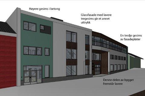 UENIG: Finnmark fylkeskommune og Haldde arkitekter er uenige om fargene og formen på taket på bygget som er planlagt i Storgata i Honningsvåg. (Tegning: Haldde arkitekter AS)