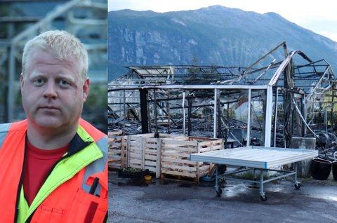 KONTROLL: Joar Flølo i brannvesenet i Gloppen, seier at brannvesenet raskt fekk kontroll på brannen.