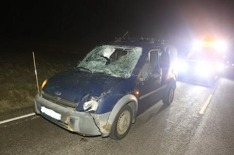 INGEN PERSONSKADE: Bilen ble til vrak i kollisjonen med elgen.