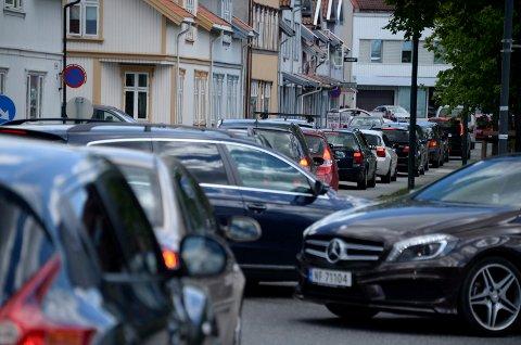 Slik ser trafikken ut på sentrumssiden like før klokken 15.00