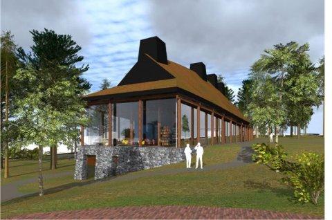 Skal bygges ved Tusenårsplassen: Det nye kulturhuset ligner på langhuset som ble funnet ved Missingen. (Illustrasjon: Råde kommune)