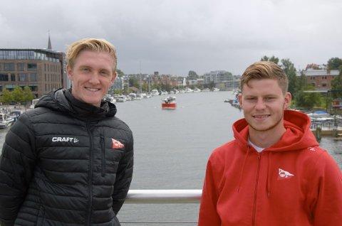 Lokale: Mandag fikk ytterligere to lokale unggutter FFK-debuten. Torpingen Oscar Jansson (17) til venstre, og Lisleby-gutten Aleksander Zoulakis er strålende fornøyde med nettopp det.