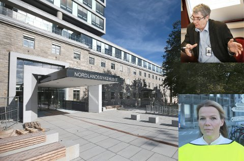 Adm. dir ved Nordlandssykehuset Paul Martin Strand og overlege Hanne Winge Kvarenes i medisinsk klinikk.