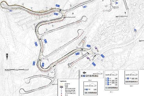 SKILTPLAN: I denne planen foreslår Narvikfjellet at det blir parkering forbudt langs veiene i hele sonen. Illustrasjon: Narvikfjellet