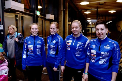 Disse Brumunddal-jentene er klare til kamp. F.v. Tine Opsal, Therese Rosenberg, Marthe Rustad og Katrine Clausen Fredheim.