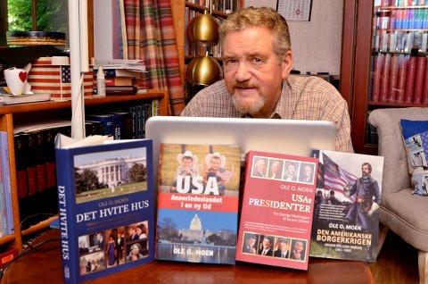"""OM TRUMP: Professor Ole O. Moen har supplert det nye opplaget av boka """"USAs presidenter"""", med over 80 nyskrevne sider om Donald Trump."""