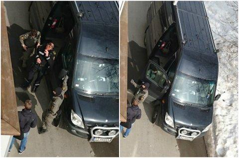 AKSJONERER: Her aksjonerer politi fra Oslo i Lillehammer fredag.