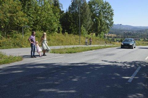 Farlig Kryss: Krysset i Eggelinna har verken overgangsfelt eller skilter, dette gjør Pål Erik og Eli Kristin Hanssveen opprørte.