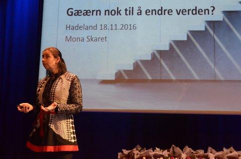 - Våre kunder er de som er gærne nok til å tro at de kan endre verden, sa Mona Skaret fra Innovasjon Norge.